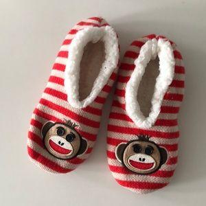 Target striped monkey sock slippers